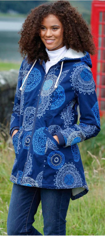 Přechodová dámská bunda s etno potiskem