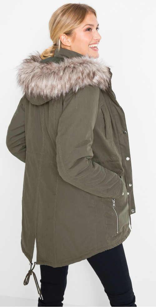 Prodloužená šedá dámská zimní bunda s huňatým kožíškem