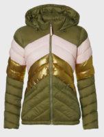 Pruhovaná prošívaná dámská zimní bunda s lesklou zlatou vsadkou