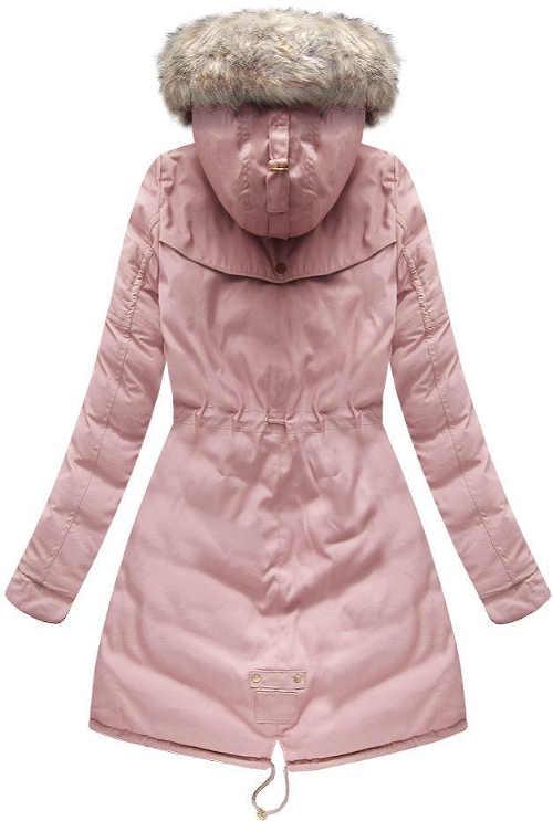 Růžový dámský zimní kabát s kožíškem