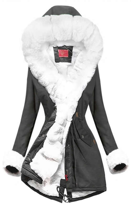 Šedá zimní bunda s bílým kožíškem a stahovací šňůrkou v pase
