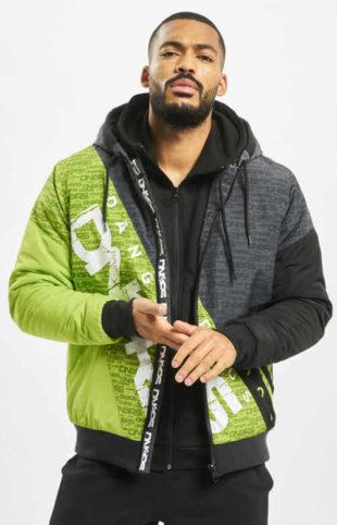Šedo-zelená pánská bunda mikinového střihu