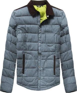 Šedomodrá pánská zimní bunda s límcem