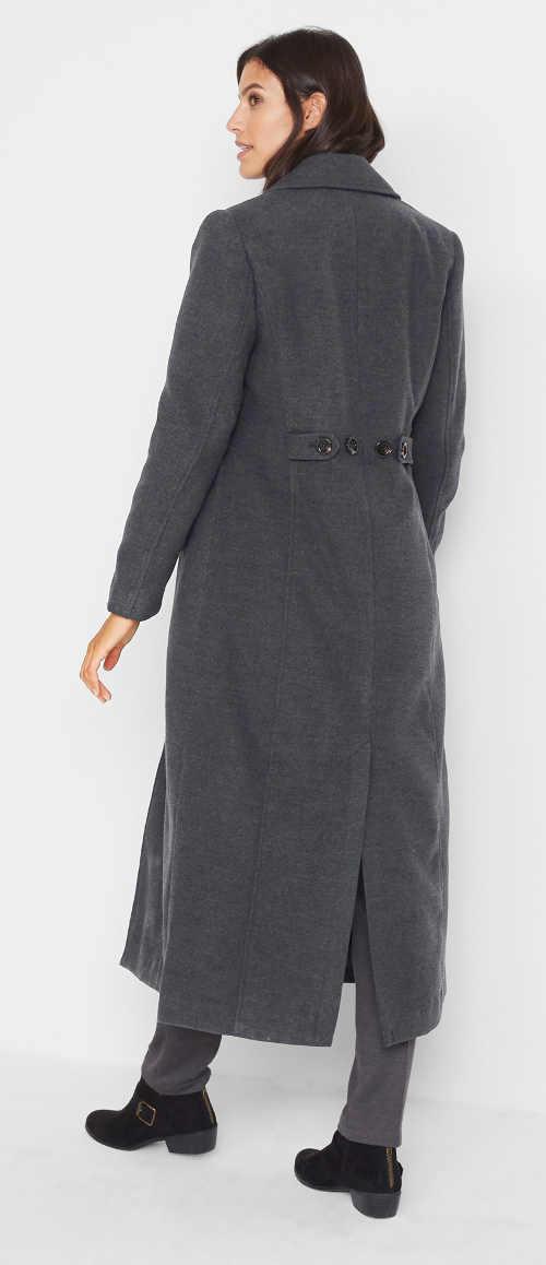 Šedý dámský kabát v maxi délce