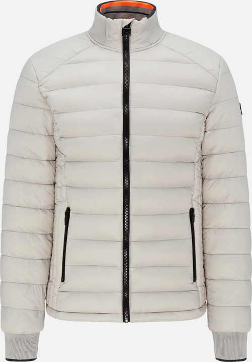 Světlá pánská prošívaná bunda se stojáčkem u krku