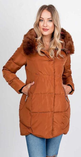 Světle hnědá dámská zimní bunda s huňatým kožíškem