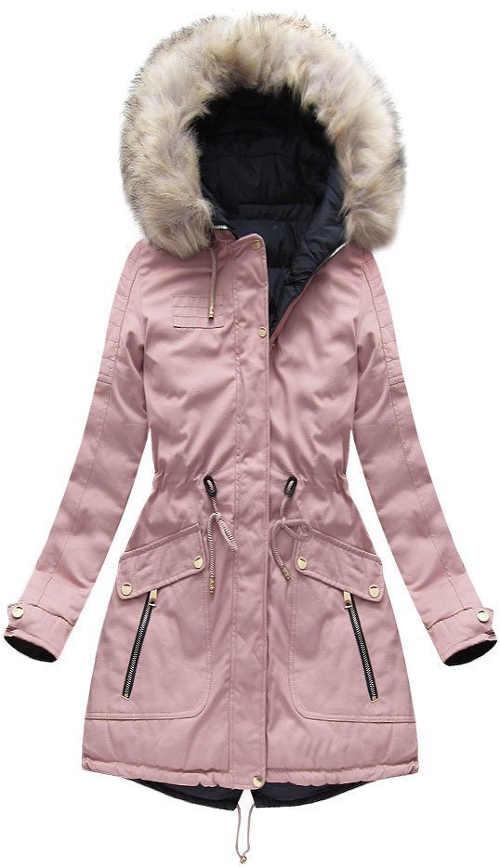 Světle růžová dámská zimní parka se stahovací šňůrkou v pase