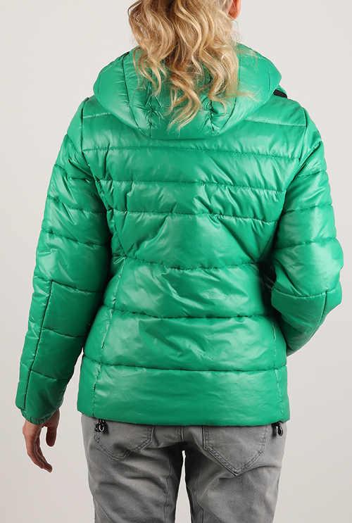 Zelená dámská lyžařská bunda s kapucí