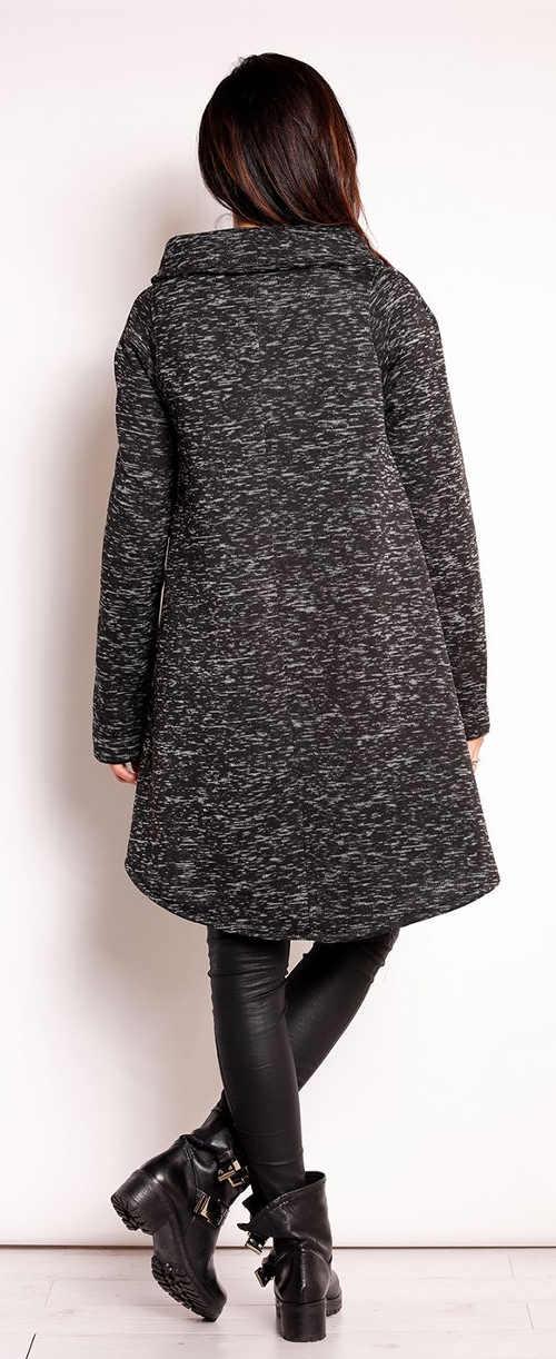 Žíhaný šedý dámský kabát