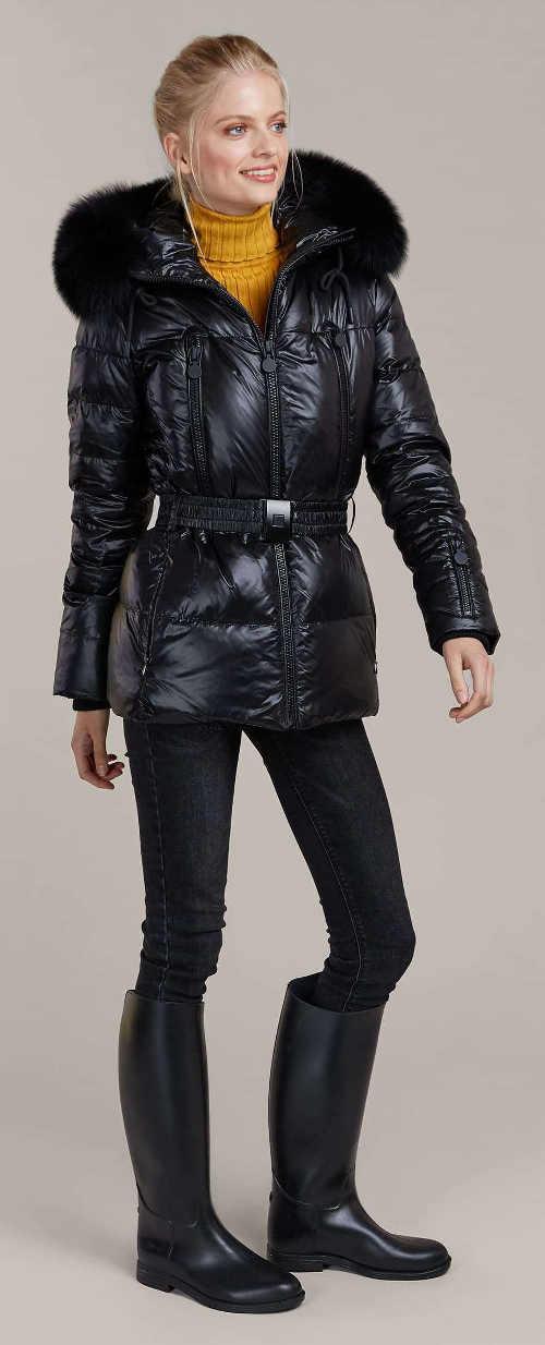Černá prošívaná péřová dámská zimní bunda