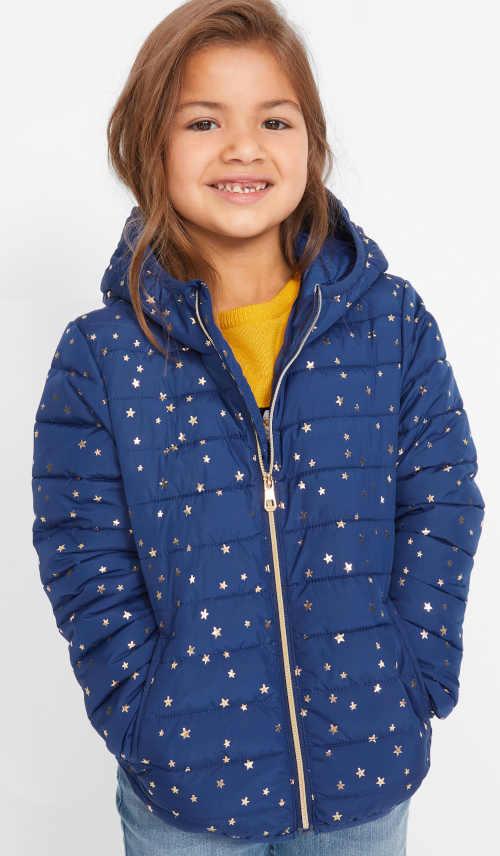 Dětská modrá zimní bunda s hvězdičkami