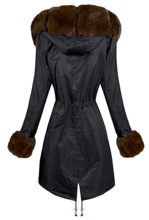 Prodloužená dámská zimní bunda s stažením v pase