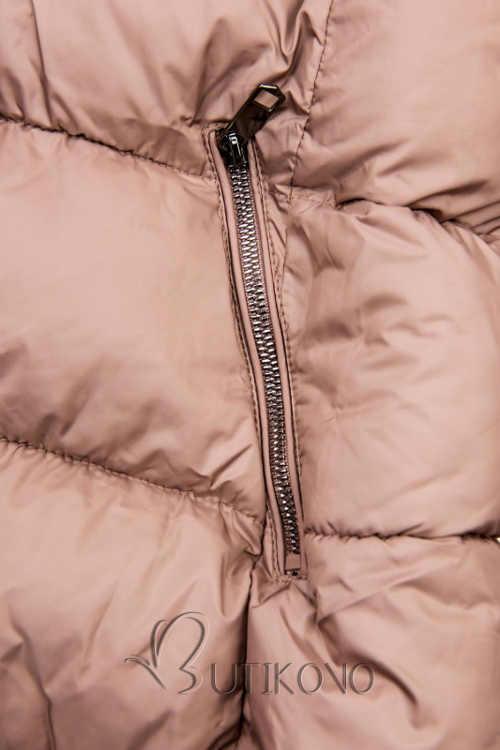 Růžová prošívaná zimní bunda s kapsami na zip