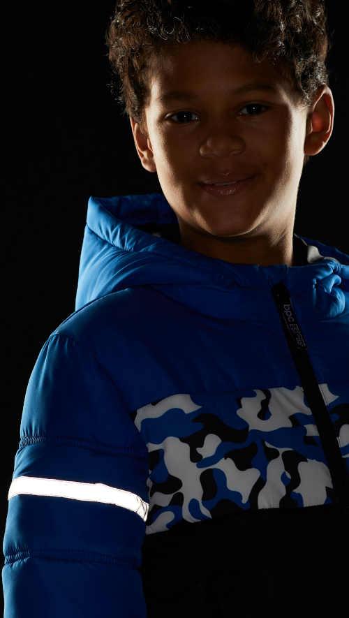 Stylová zimní chlapecká bunda s reflexními prvky