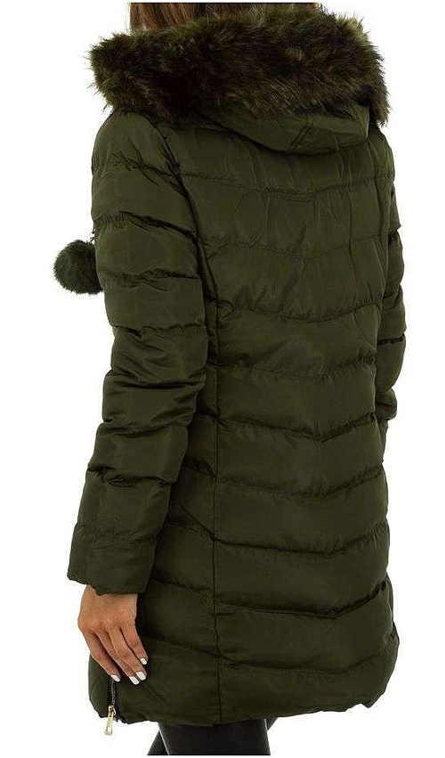 Tmavě zelený prošívaný dámský zimní kabát