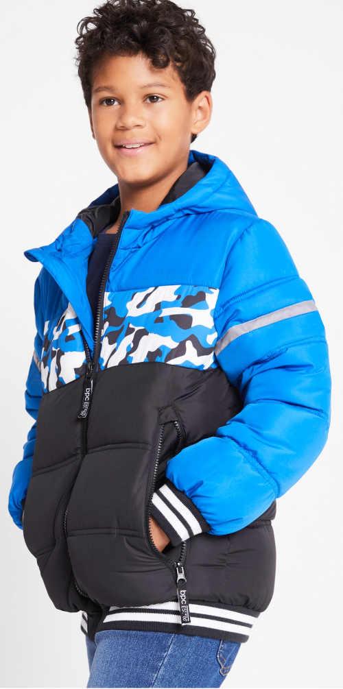 Vatovaná zimní bunda s maskáčovým pruhem
