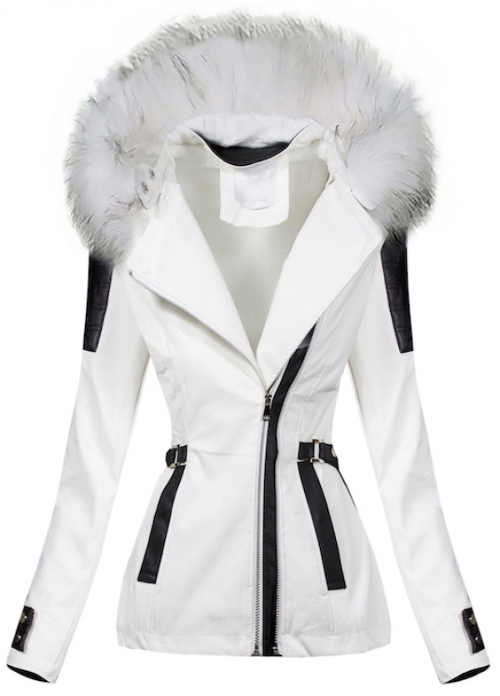 Bílá koženková dámská zimní bunda s černými detaily