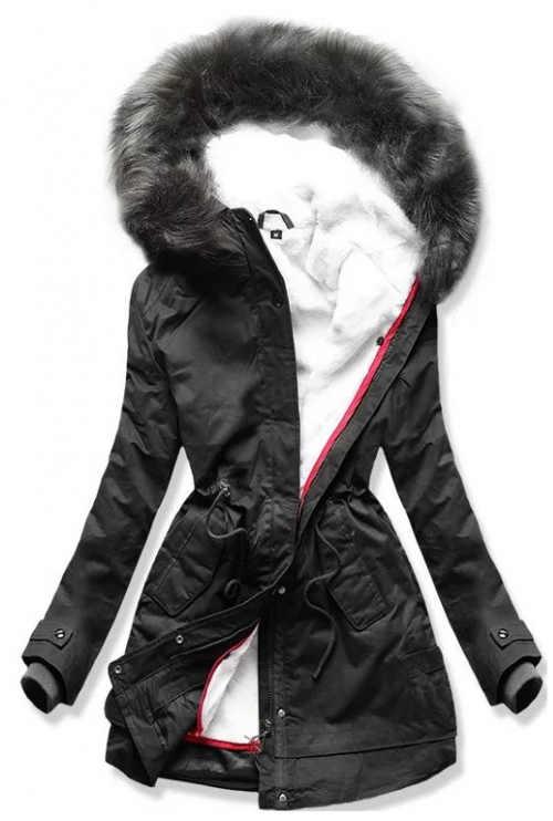 Černá dámská zimní bunda s odnímatelnou teplou podšívkou