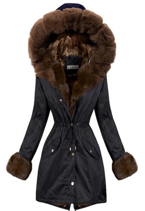 Černá kabátová parka s hnědým kožíškem a stahovací šňůrkou v pase