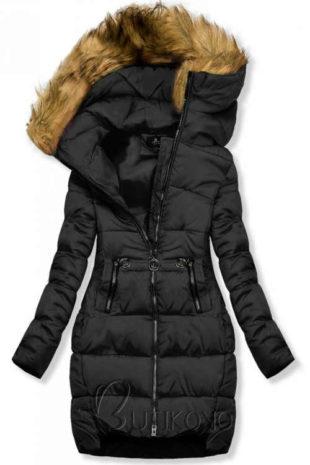 Černá prodloužená dámská zimní bunda s neodepínatelnou kapucí