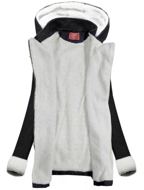 Černobílý dámský zimní kabát