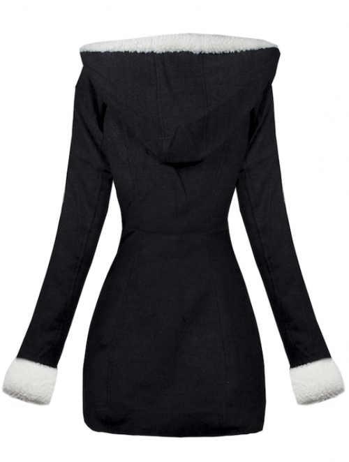 Černý dámský zimní kabát s kapucí