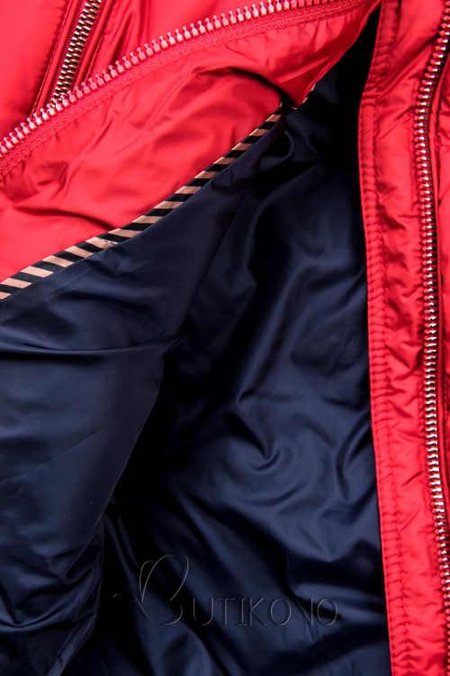 Červená dámská zimní bunda s modrou podšívkou