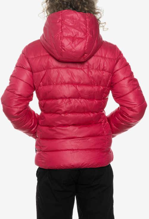 Červená dívčí lyžařská bunda s kapucí