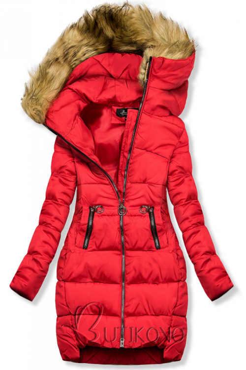 Červená prošívaná dámská zimní bunda s neodepínatelnou kapucí