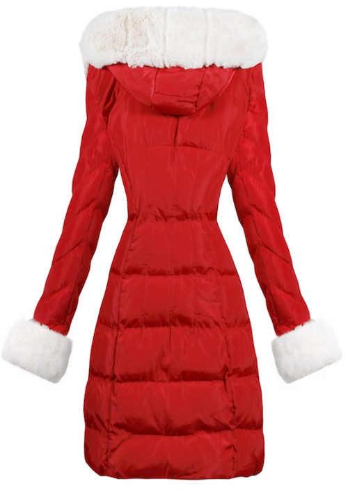 Červená prošívaná dámská zimní bunda s délkou ke kolenům
