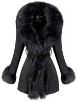 Dámský zimní kabát s kožešinou a stahovacím páskem