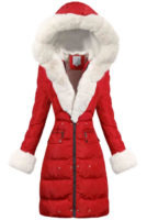 Dlouhá červená prošívaná dámská zimní bunda s bílým kožíškem
