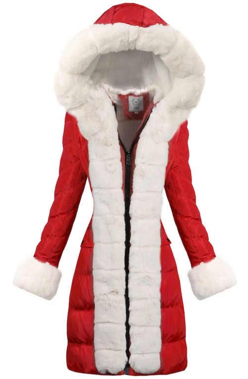 Dlouhý prošívaný dámský zimní kabát s kožíškem