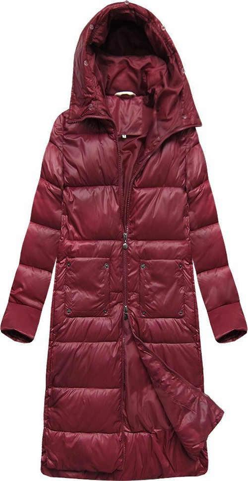 Dlouhý prošívaný dámský zimní kabát s odepínací kožešinou na límci