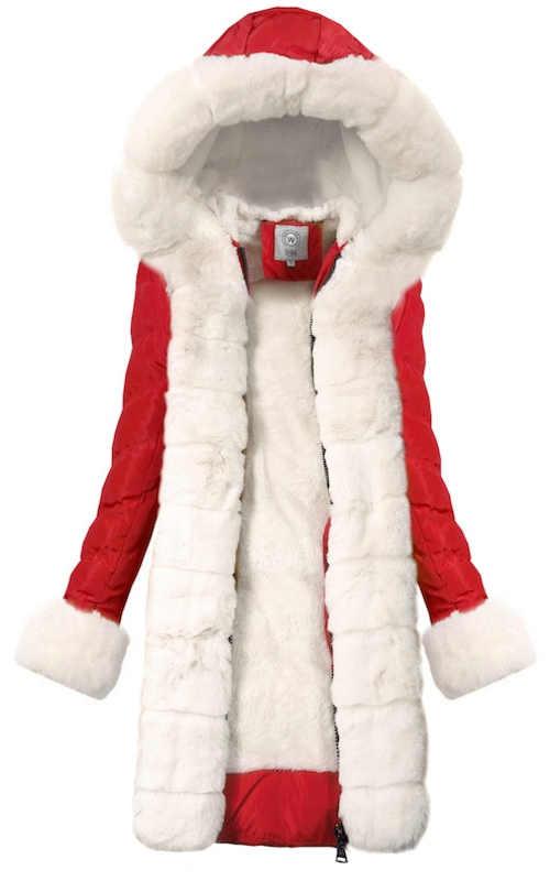 Dlouhý prošívaný zimní kabát se zapínáním na zip