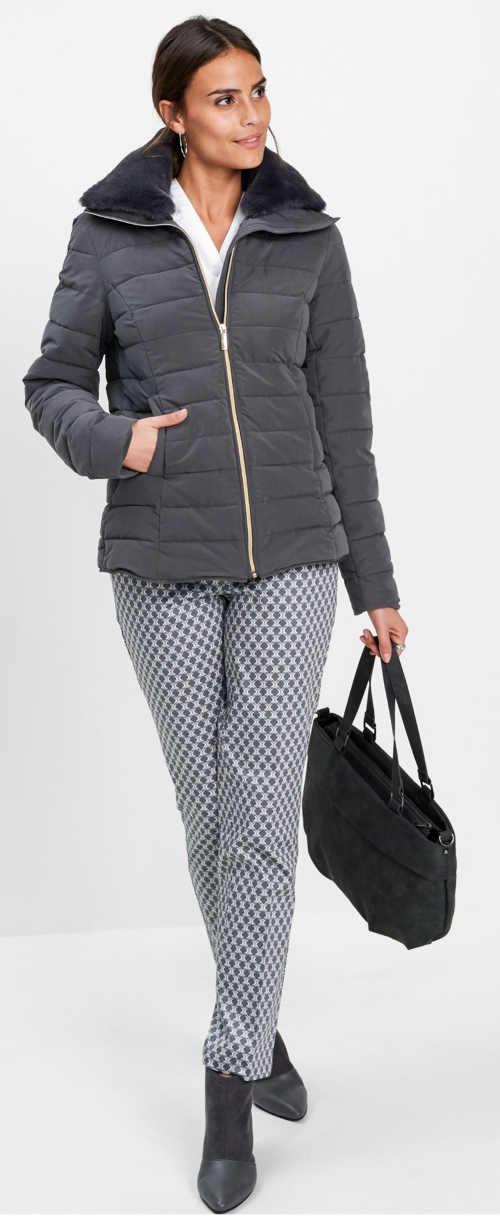 Elegantní šedá zimní bunda bez kapuce pro starší