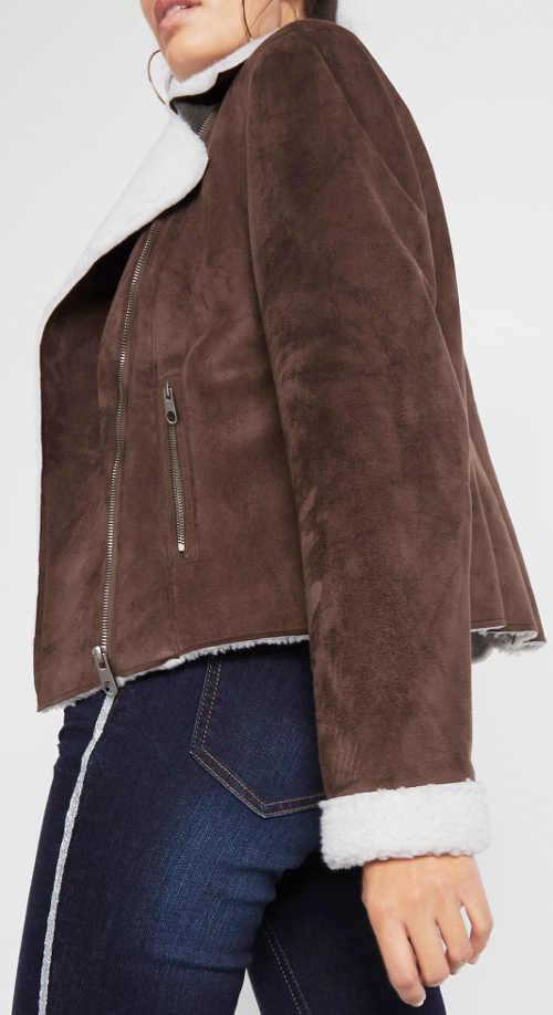 Hnědá zimní bunda z umělé kůže vnitřní bílým kožíškem