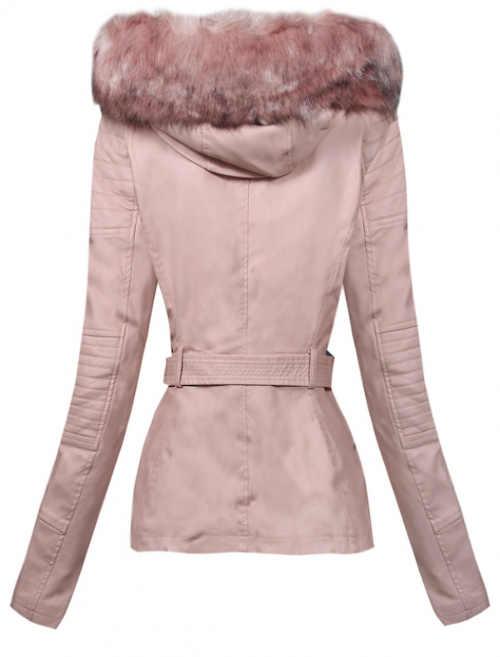Kožená dámská zimní bunda s páskem