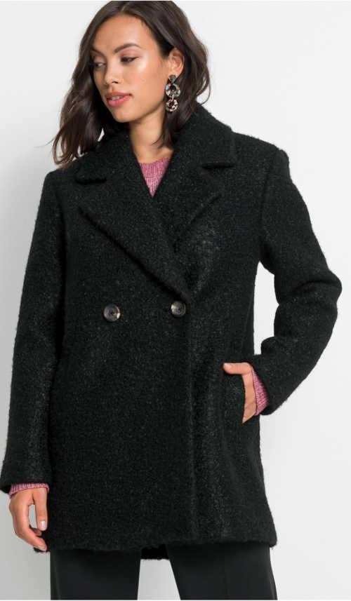 Krátké černý vlněný zimní kabát