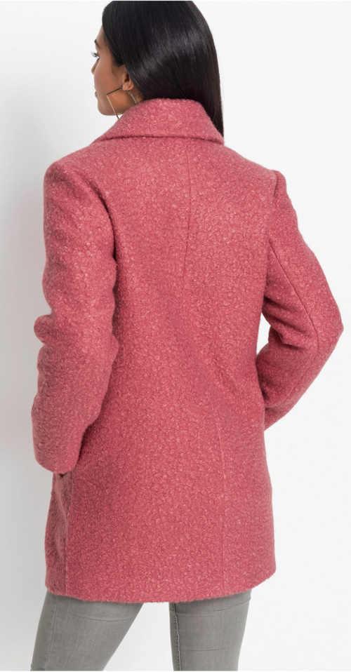 Malinové růžový krátký dámský zimní kabát