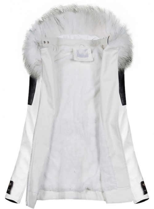 Moderní bílá bunda z umělé kůže