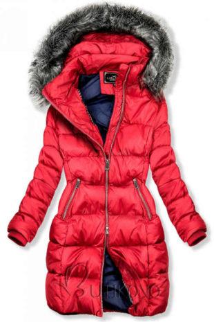 Moderní červená dámská zimní bunda s prošitím