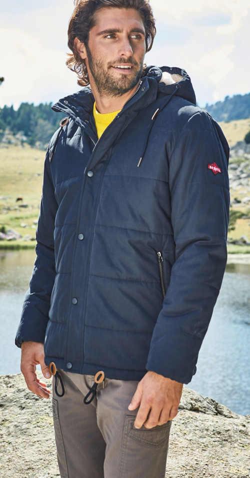 Modrá pánská zimní bunda na hory