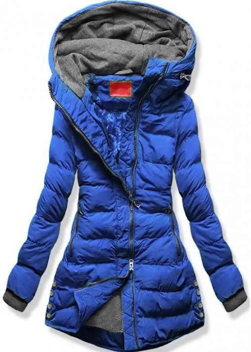 Modrá prošívaná zimní bunda