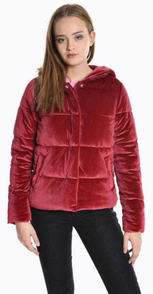 Prošívaná červená vatovaná sametová bunda do pasu
