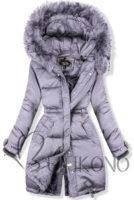 Prošívaná lila zimní bunda v prodlouženém střihu