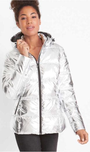 Prošívaná outdoor bunda stříbrná metalíza