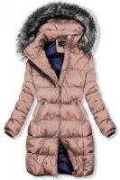 Prošívaná růžová zimní bunda s neodepínatelnou kapucí