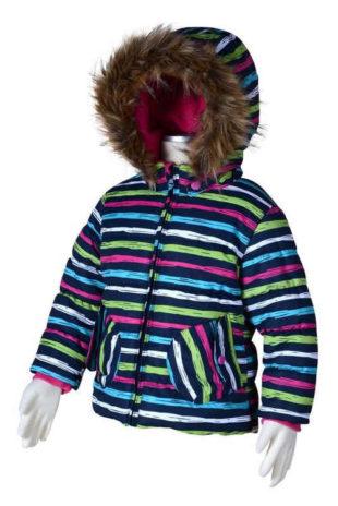 Pruhovaná dívčí zimní bunda s lyžařským pásem Pidilidi