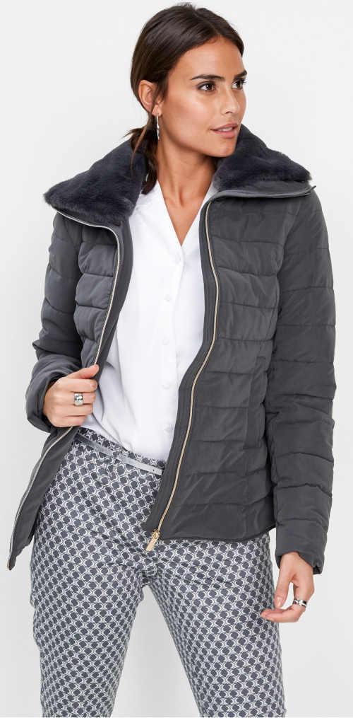 Šedá prošívaná dámská zimní bunda Bonprix